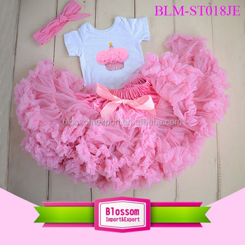 1st birthday outfit cap cake short sleeve white top shirt pink pettiskirt headband 3pcs baby girls birthday outfit