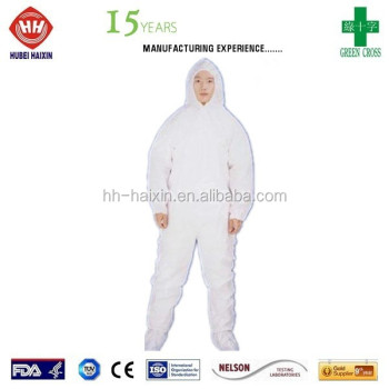 Water resistant Multilayer White SMS Coverall with Hood