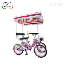 4 wheels colorful lover park quadricycle bike/tandem bike 4 with canopy/recumbent cycles tour bicycle surrey bike