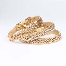 Super hot luxury PU material golden color chain for decoration dog collar