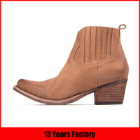 2015 high quality big heel comfort brown suede leather ankle winter boots sale for women