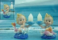 polyresin mermaid candle holder