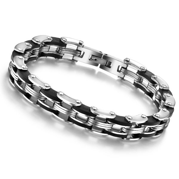 Men's Stainless Steel Bracelet Custom Cool 21cm Men Bracelet European And American Fashion Male Car Chain Jewelry
