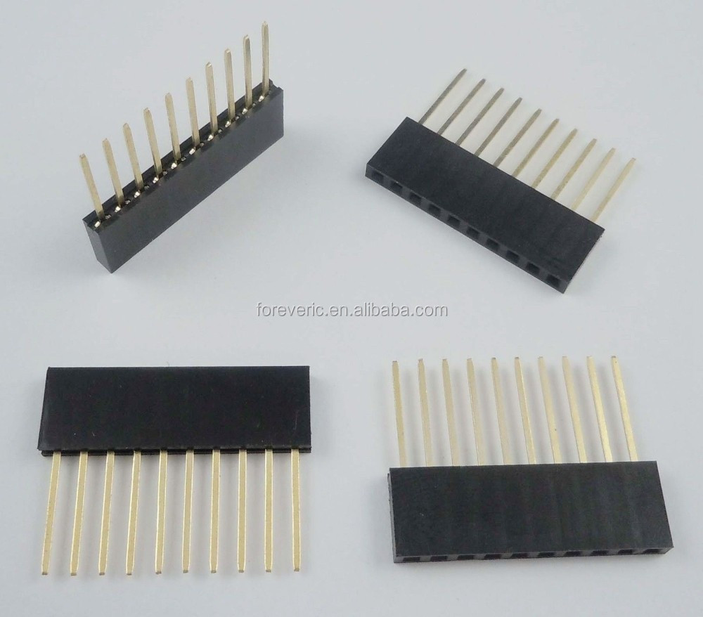 2.54mm Pitch 10 Pin Single Row Stackable Shield Female Header for Arduino