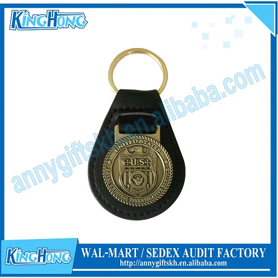 Car badge antique embossed leather keychain