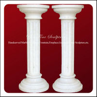 Outdoor White Customized Stone Driveway Pillars