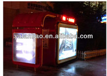 Acrylic outdoor kiosk information newstand with fiberglass reinforced ,3 sides big wiindows for advertisment.