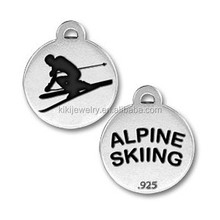 sports and skiable antique silver plated zinc alloy engraved alpine skiing charms jewelry direct buy China