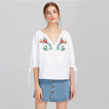 Summer tie neck ladies casual bohemian ethnic embroidered blouse