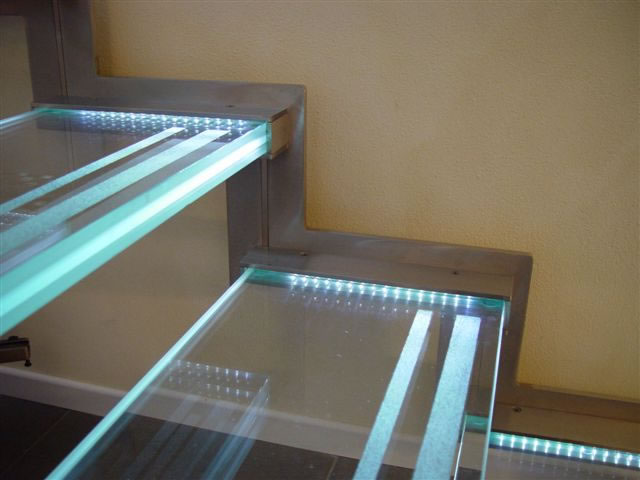 Indoor LED light acrylic stairs handrail