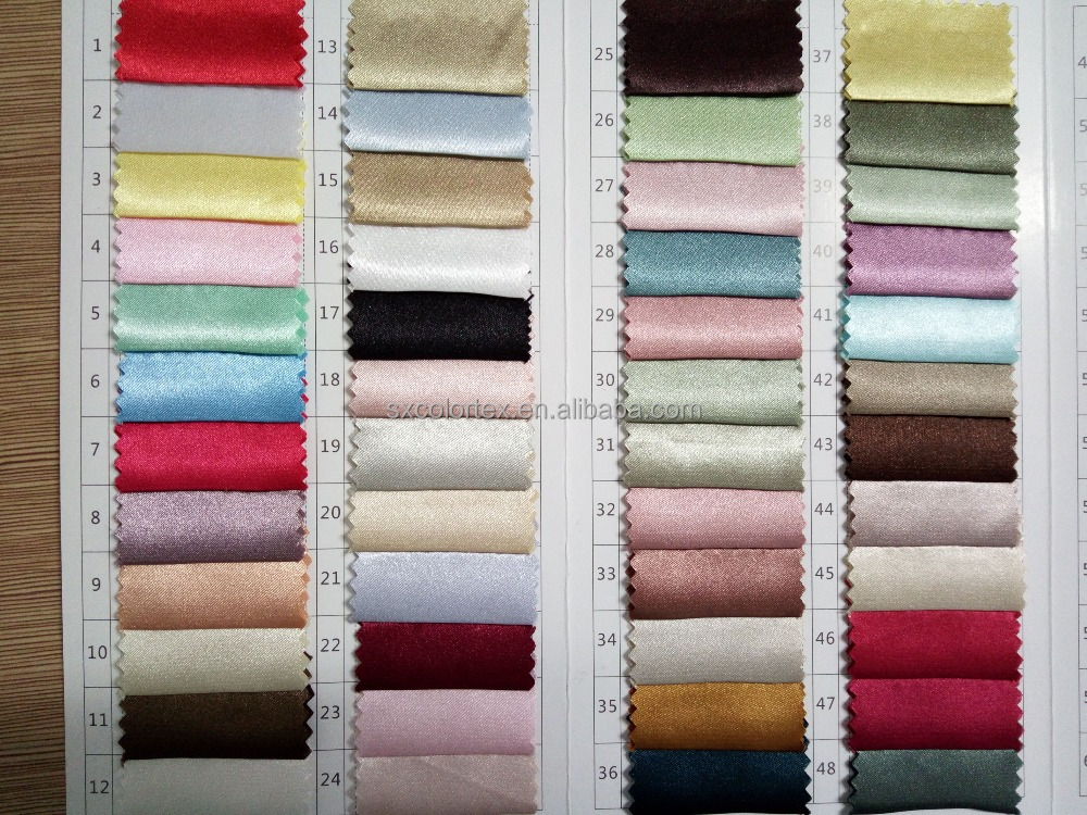 126 colors 100 polyester plain solid elastic satin