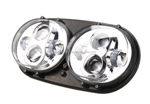 Sliver Motorcycle Projector Moto Dual LED Headlight Driving Lamp For Harley Road Glide '04-'13