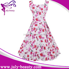Hot style Retro H-neck printing flower peplum dress