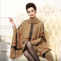 2015 Europe and America pop hit color sets loose plaid turtleneck cloak sweater cape coat