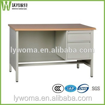 wooden office computer table design / stainless steel frame office furniture desk design