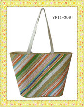 2014 beautiful striped paper straw bag summer beach bag shopping bag