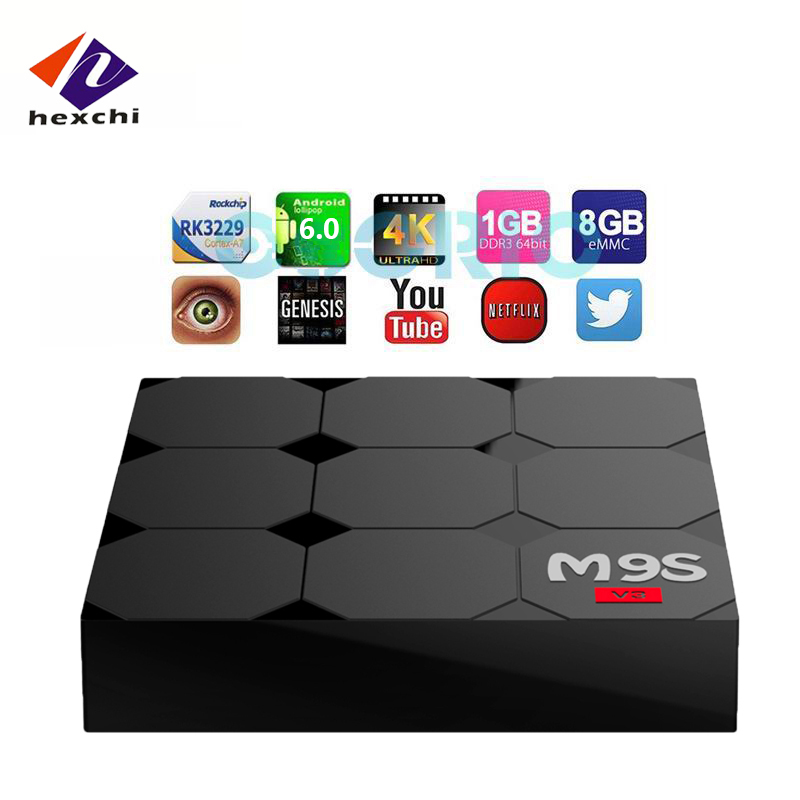 android tv box 1gb ram 2gb rom M9S V3 RK3229 hot selling in U.S from hexchi patent products own unique shape OEM welcome