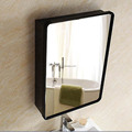 Newly modern double layer stainless steel black bathroom mirror cabinet