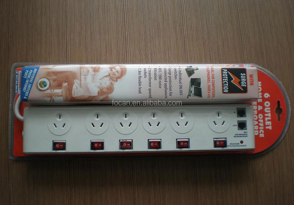 FOCAN SAA Australian Power Strip 10A 250V Australia 4 outlet power board individual switched with cable 4V-74 3X1.0mm