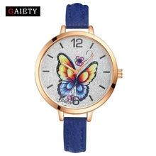 GAIETY Top Brand Women Sport Watches Fashion Butterfly Dial Wrist Watch Luxury Ladies Casual Leather Clock Vintage Quartz Watch