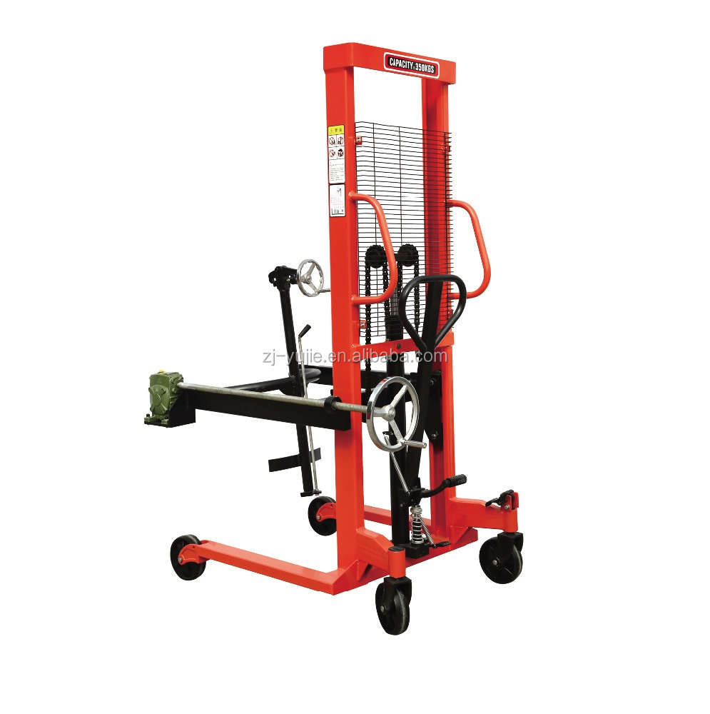 360kg Manual Hydraulic Pallet Drum Lifting Stacker/china suppliers drum cart/yujie/logistics equipment