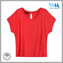 High Quality fitted home wear cotton red tshirt