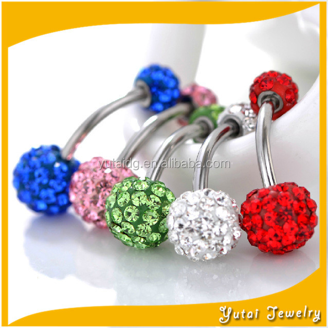 2016 Latest Belly Piercing Double Crystal Gemstone Shamballa Navel Rings