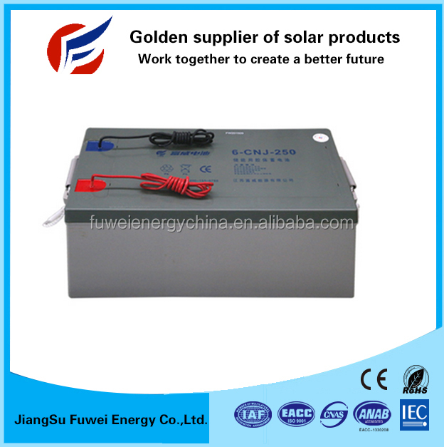 Rechargeable deep cycle 12V 250Ah lead crystal battery for solar and wind system
