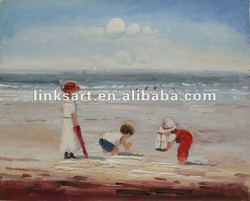 handmade oil painting boat and beach