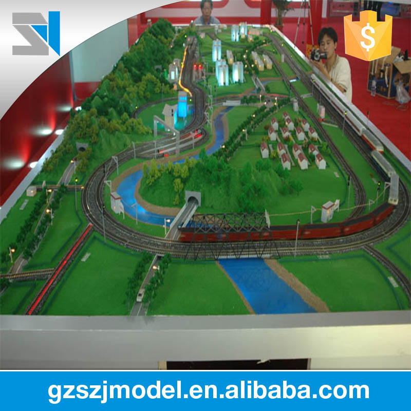 Abs and acrylic scale railway model with ho model train and cars