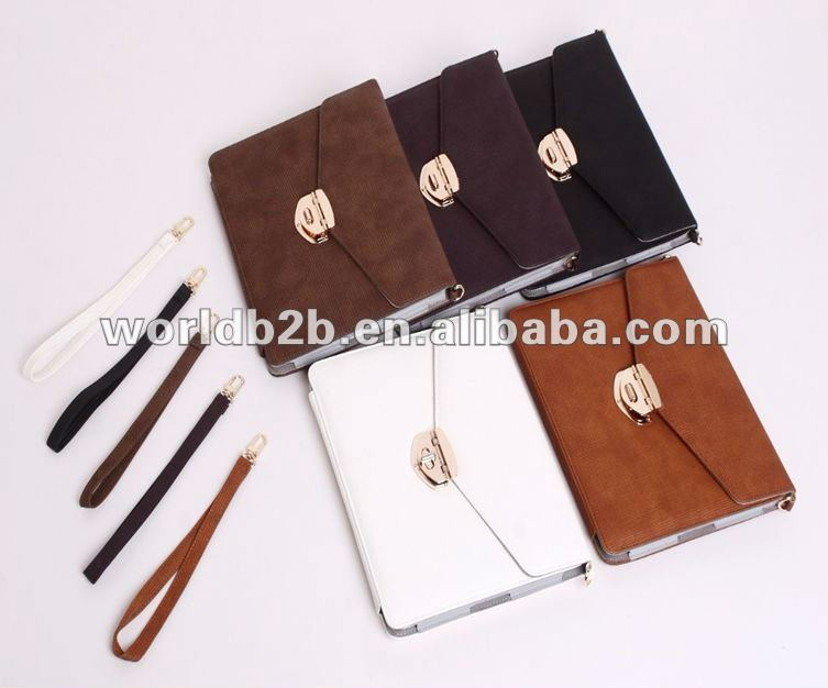 Multifunctional Leather Business Portfolio Case for iPad 3,inside with multipurpose card place and Stylus holder