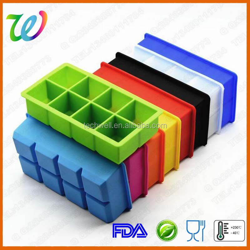 Factory wholesale silicone large square ice tray