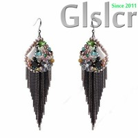 European and American handmade oval beads bohemian crystal earrings, fashion accessories Various private meetings