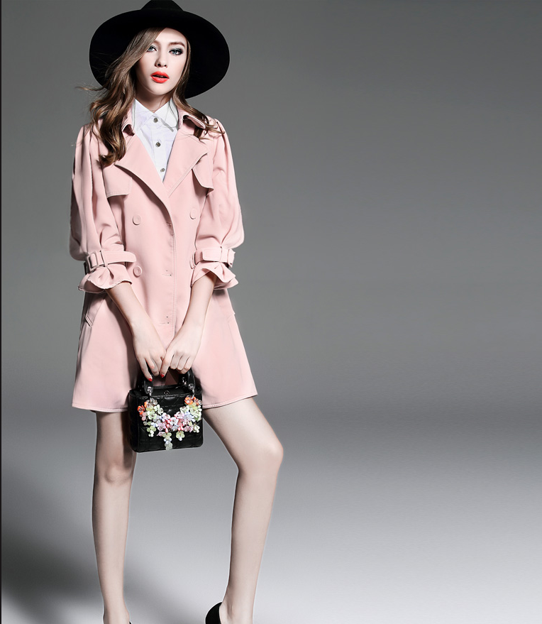 Clothing Manufacturers pink color big V-neck collar ladies winter jacket, mature long women coat