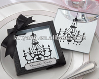Chandelier Mirrored Wedding Favors Glass Coaster CT-28