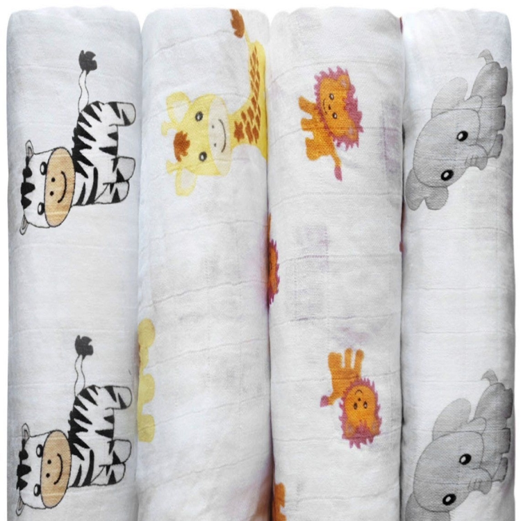 Custom amazon best sale unisex printing animal top rated muslin gauze fabric blanket wrap swaddle set for newborn infant <strong>baby</strong>