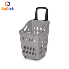 CE Top Sale Plastic Rolling Supermarket Shopping Basket For Store