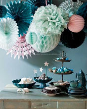 Mermaid party supplies Backdrop Decor ideas Tissue Paper Pom Poms Balls Paper Fans Crepe Streamer Hanging Baby shower decoration