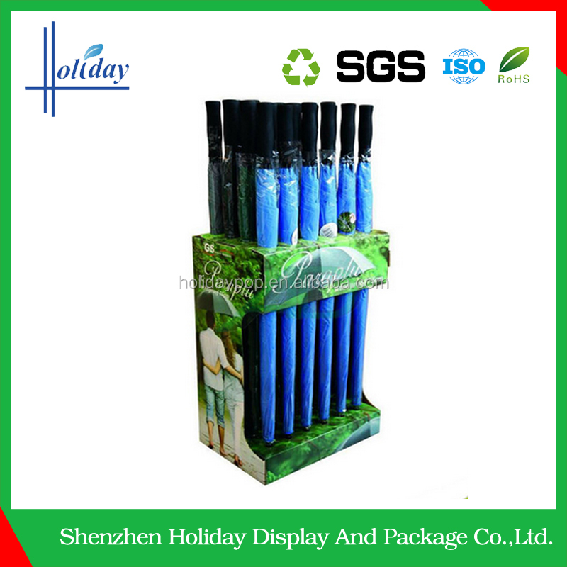 Portable cardboard umbrella floor display stand