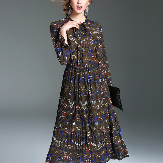 Latest Chiffon Spring Long Sleeve Bohemia Floral Print Vintage Maxi Dress Wholesale Women Long Dresses