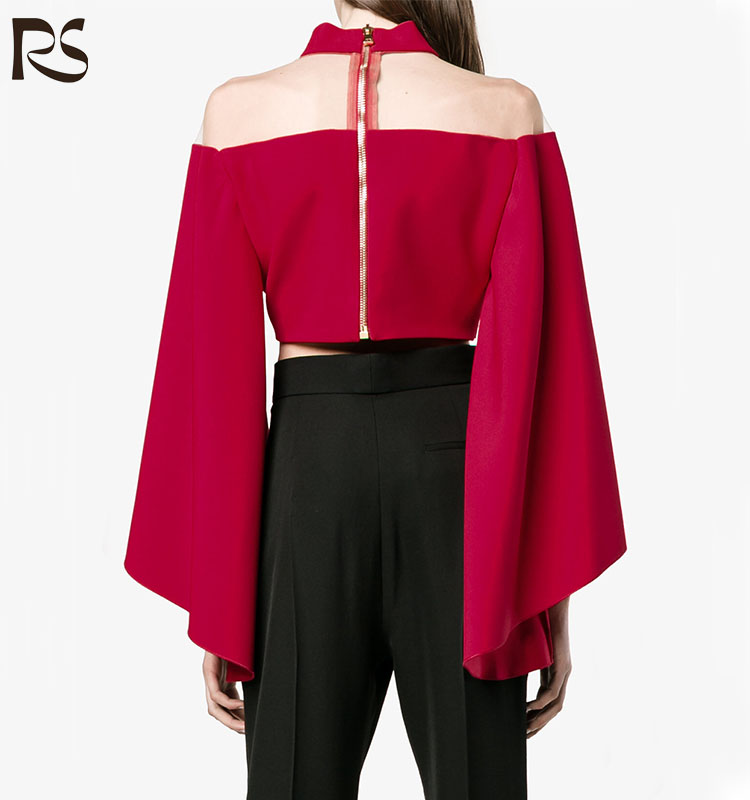 Collar lap bell shaped sleeves shirt latest blouse designs for back