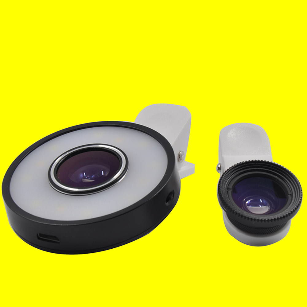 MX-601S 8 LED cool light and 8 LED warm light selfie ring light with 0.65x wide angle+10x macro+185fisheye lens make the phone