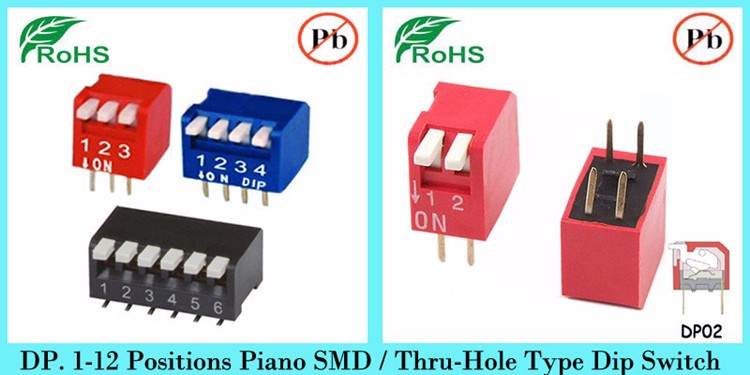 5WAY,10PIN,SPST, THRU-HOLE,PIANO DIP SWITCH