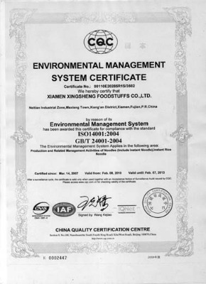 Environment management system certification