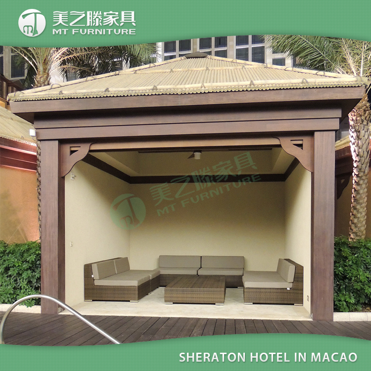 Sheraton Hotel Leisure ways UV resistant waterproof outdoor furniture rattan patio sofa set with cusions