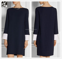 Ladies autumn boat neck long sleeve shift dress, knee length gaun designs casual dress SYA15168