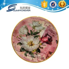 2016 Beautiful Round Gold Rim cheap reusable plastic plates/plastic dinner plate/home decoration