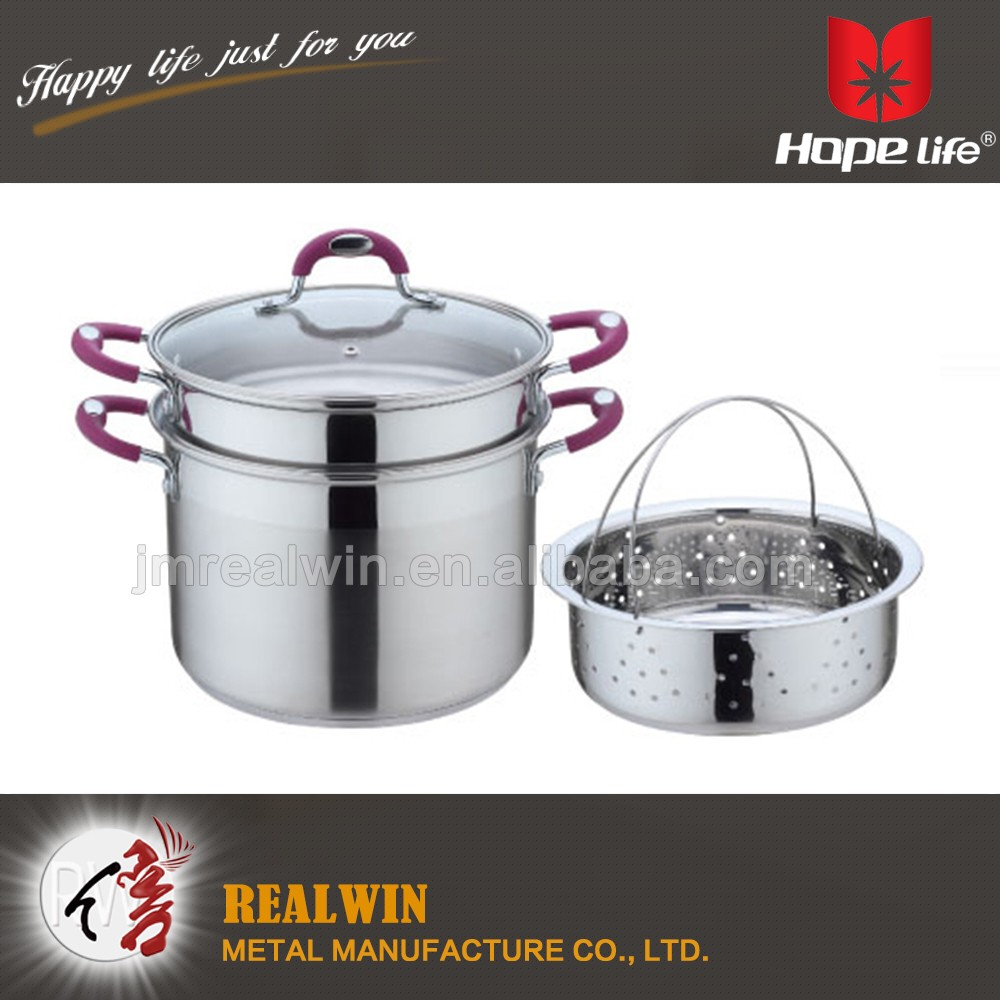 3.0mm AL bottom pasta pot cookware 24cm stainless steel pasta pot with steamer rack