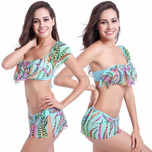 Wholesaler One shoulder Flounced Top Transparent mesh layer Hot sexy photo girl Bikini
