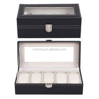 In stock wholesale pu leather cover MDF watch box of 5 slots watches